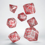 Elvish RPG Dice Set Translucent & Red (7 stuks)