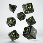 Elvish RPG Dice Set Black & Glow-in-the-dark (7 stuks)
