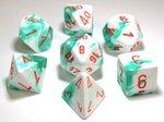 Dobbelstenen Gemini Mint Green-White/Orange Polydice (7 stuks)