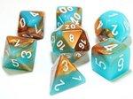 Dobbelstenen Gemini Copper-Turquoise/White Polydice (7 stuks)