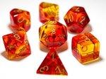 Dobbelstenen Gemini Translucent Red-Yellow/Gold Polydice (7 stuks)