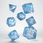 Elvish RPG Dice Set Translucent & Blue (7)