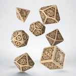 Steampunk Clockwork Dice Set Beige & Brown (7)