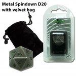 D20 Metal Spindown with Velvet Bag (Antique Silver)