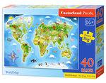 Wereldkaart - Puzzel (40MAXI)