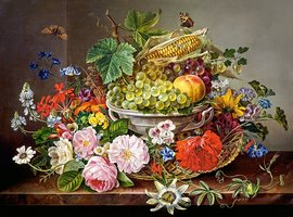 Still Life with Flowers and Fruit Basket - Puzzel (2000)