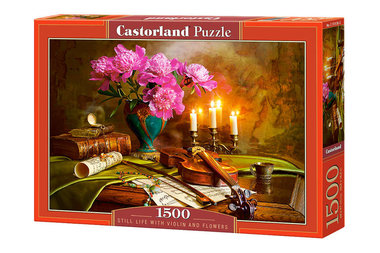 Still life with violin and flowers - Puzzel (1500)