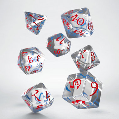 Dobbelstenen Classic RPG Dice Set Transparant Blue/Red (7 stuks)