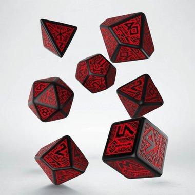 Dwarven RPG Dice Set Red & Black (7 stuks)
