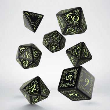 Elvish RPG Dice Set Black & Glow-in-the-dark (7 stuks)