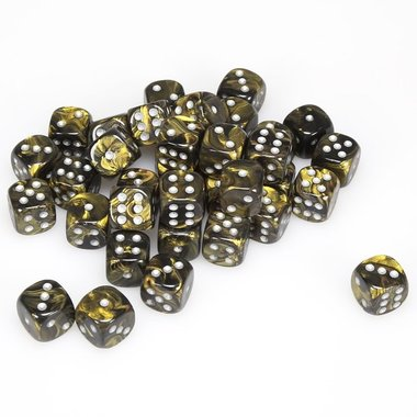 Dobbelsteen Leaf Black Gold/Silver - D6 - 12mm