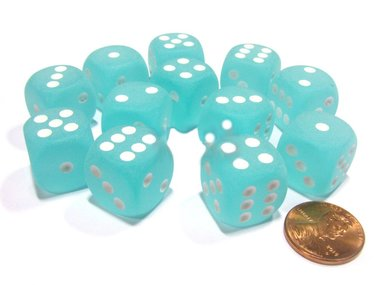 Dobbelsteen Frosted Teal/White - D6 - 16mm