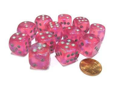 Dobbelsteen Borealis Pink/Silver - D6 - 16mm
