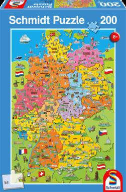 Kaart van Duitsland met plaatjes - Puzzel (200)