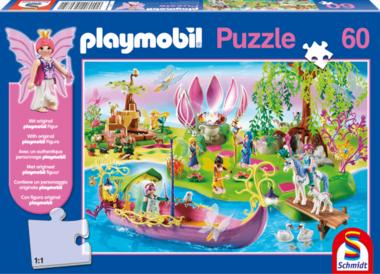 Bontgekleurde Feeënwereld - Puzzel (60) [+ GRATIS PLAYMOBIL MANNETJE]