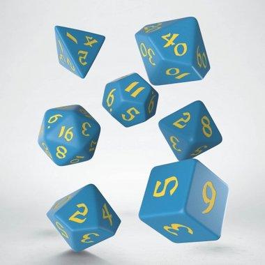 Classic Runic Dice Set Blue & Yellow (7 stuks)