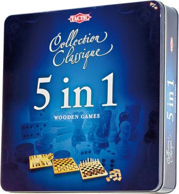 5 in 1 Hout - Schaken, Dammen, Tic Tac Toe, Backgammon en Domino