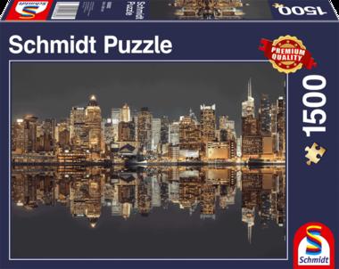 New York Skyline bij Nacht - Puzzel (1500)