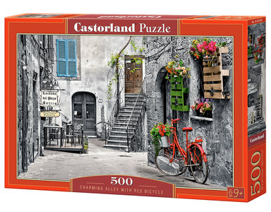 Charming Alley with Red Bicycle - Puzzel (500)
