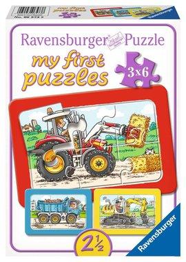 My First Puzzles: Graafmachine, Tractor en Kiepauto - Puzzel (3x6)