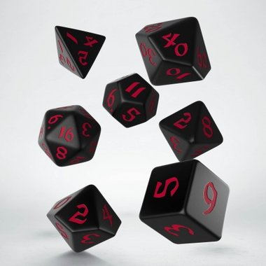 Classic Runic Dice Set Black & Red (7)