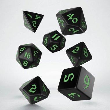 Classic Runic Dice Set Black & Green (7)
