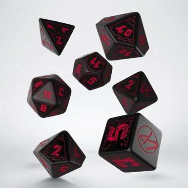 Cyberpunk Dice Set Red (7)
