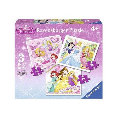 Disney Princess: Ik ben een Prinses - 3 in a Box Puzzel (25+36+49)
