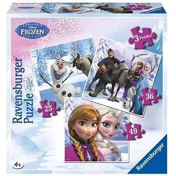Frozen: Anna, Elsa en hun vrienden - 3 in a Box Puzzel (25+36+49)