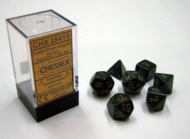 Opaque Dusty Green/Copper Polydice (7)