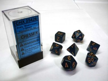 Opaque Dusty Blue/Copper Polydice (7)
