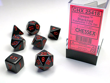 Opaque Black/Red Polydice (7)