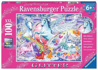 De mooiste eenhoorns - Glitter Puzzel (100XXL)