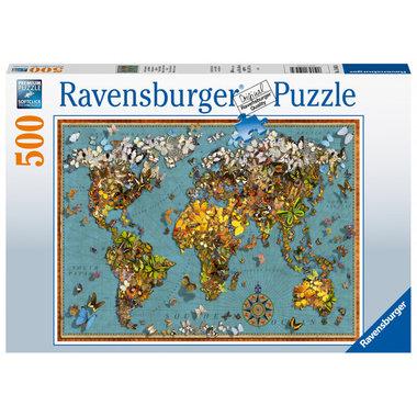 Antieke vlinderwereldkaart - Puzzel (500)