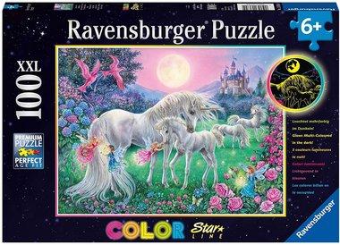 Eenhoorns in de maneschijn - Color Star Line Puzzel (100XXL)