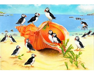 Puffins On A Seashell - Puzzel (40)