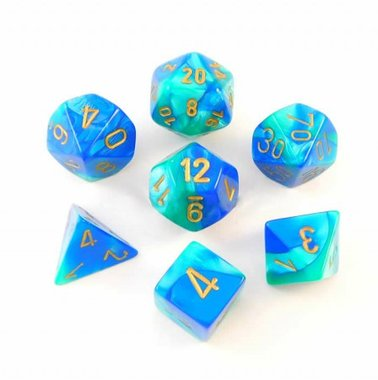 Gemini Blue-Teal/Gold Polydice (7)