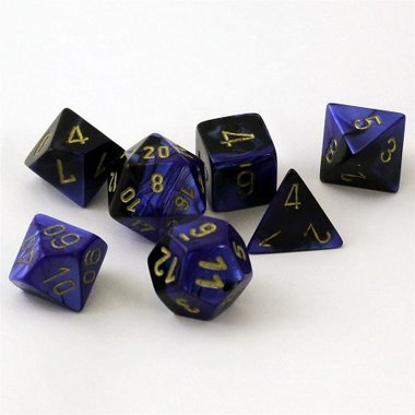 Gemini Black-Blue/Gold Polydice (7)