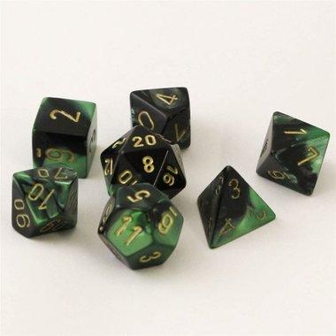 Gemini Black-Green/Gold Polydice (7)