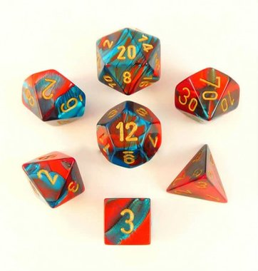 Gemini Red-Teal/Gold Polydice (7)