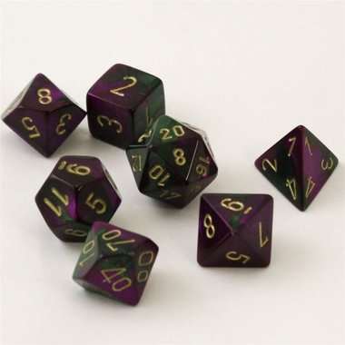 Gemini Green-Purple/Gold Polydice (7)