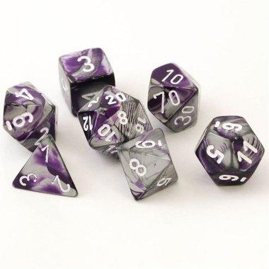Gemini Purple-Steel/White Polydice (7)
