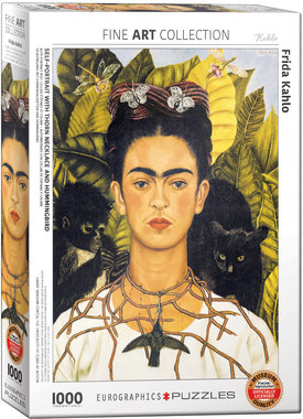 Self Portret with Thorn Necklace and Hummingbird, Frida Kahlo - Puzzel (1000)