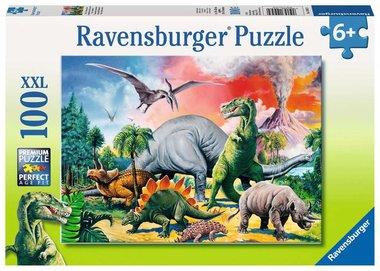Tussen de dinosauriërs - Puzzel (100XXL)