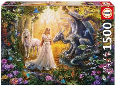 Dragon, princess and unicorn - Puzzel (1500)