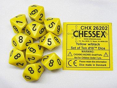 Dobbelstenen D10 Opaque Yellow/Black