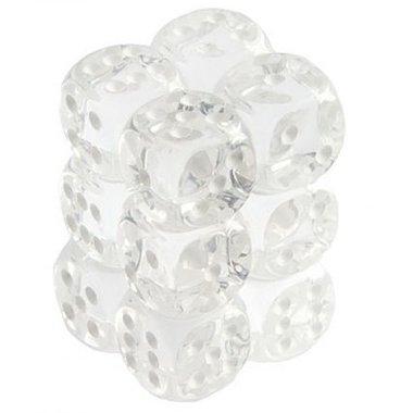Dobbelstenen D6 (16mm) Translucent Clear/White (12x)