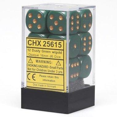 Dobbelstenen D6 (16mm) Opaque Dusty Green/Copper