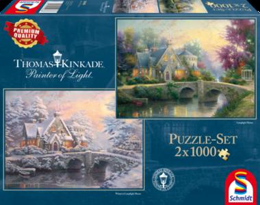 [ZWAAR BESCHADIGD] Lamplight Manor/Winter in Lamplight Manor (Thomas Kinkade) - Puzzel (2x1000)