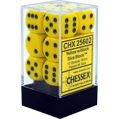 Dobbelstenen D6 (16mm) Opaque Yellow/Black
